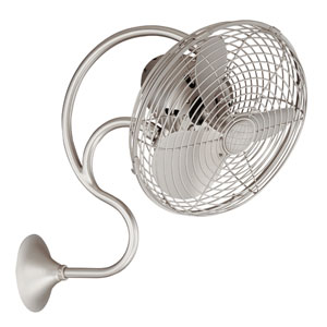 Melody Brushed Nickel Oscillating Wall Mounted Fan