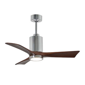 Patricia Three Blade Polished Chrome 42-Inch LED One-Light Ceiling Fan