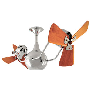 Vent Bettina Polished Chrome 44-Inch Ceiling Fan with Mahogany Blades