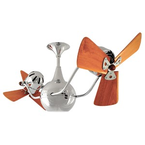 Vent-Bettina Brushed Nickel 44-Inch Rotational Ceiling Fan with Wood Blades