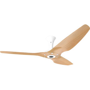 Haiku White 60-Inch Low Profile Outdoor Ceiling Fan with Caramel Bamboo Blades