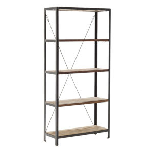 Shelly Steel and Gray 83-Inch Teak Free Standing Shelf