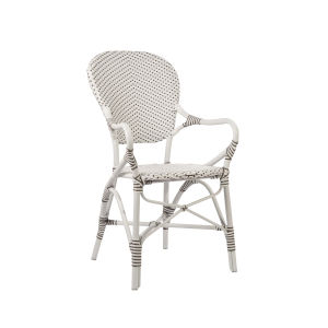 Isabell White and Cappuccino Dining Armchair