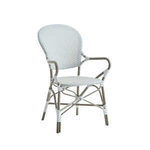 Isabell Taupe, Gray and White Dining Armchair