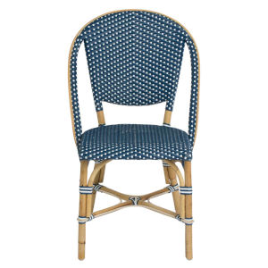 Sofie Navy and White Bistro Dining Side Chair