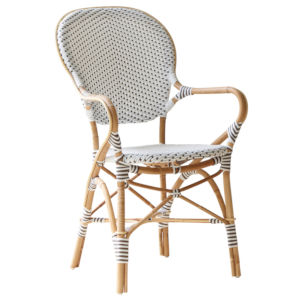 Isabell White and Cappuccino Bistro Dining Arm Chair