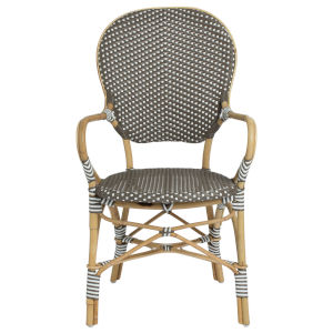 Isabell Gray and Cappuccino Bistro Dining Arm Chair