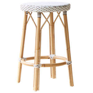 Simone White and Cappuccino Counter Stool