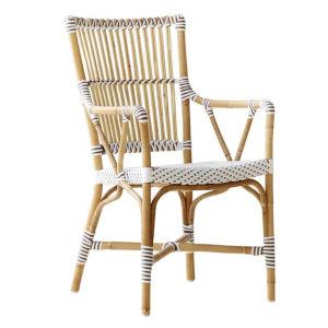 Monique White and Cappuccino Bistro Arm Chair
