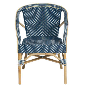 Madeleine Navy and White Bistro Arm Chair