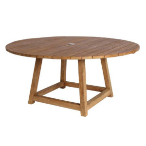 George Natural Brown 63-Inch Outdoor Round Dining Table