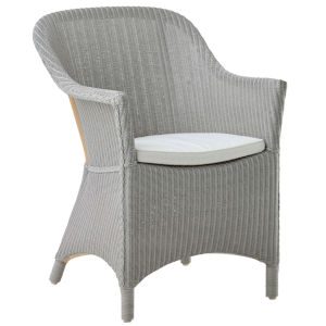 Charlot Light Gray and White Chair Loom with Polyester Snow Cushion
