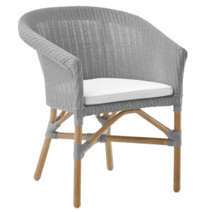 Abbey Light Gray and White Chair Loom with Polyester Snow Cushion