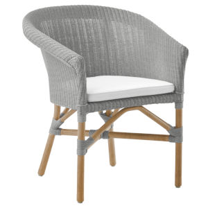 Abbey Light Gray and White Chair Loom with Tempotest Canvas Cushion