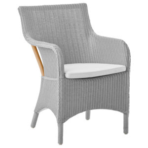 Marie Light Gray and White Armchair Loom with Polyester Snow Cushion