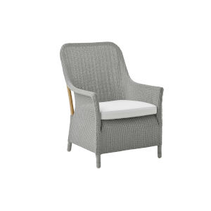 Dawn Light Gray and White Armchair Loom with Polyester Snow Cushion