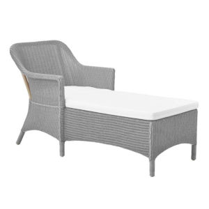 Olivia Light Gray and White Lounge Chair with Polyester Snow Cushion