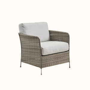 Orion Teak Gray and White Outdoor Chair with Sunbrella Sailcloth Seagull Cushion