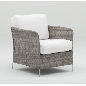Orion Teak Gray and White Outdoor Chair with Tempotest Canvas Cushion