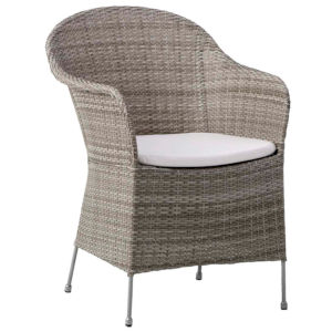 Athene Teak Gray and White Outdoor Chair with Tempotest Canvas Cushion