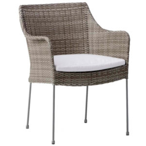 Vanus Teak Gray and White Outdoor Chair with Tempotest Canvas Cushion