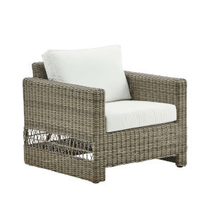 Carrie Antique and White Outdoor Lounge Chair with Tempotest Canvas Cushion