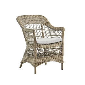 Charlot Antique and White Outdoor Chair with Sunbrella Sailcloth Seagull Cushion