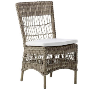Marie Antique and White Outdoor Armchair with Polyester Snow Cushion