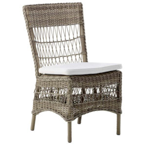 Marie Antique and White Outdoor Side Chair with Tempotest Canvas Cushion