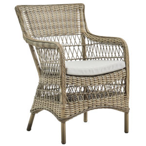 Marie Antique and White Outdoor Arm Chair with Sunbrella Sailcloth Seagull Cushion