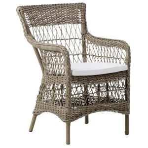 Marie Antique and White Outdoor Arm Chair with Polyester Snow Cushion