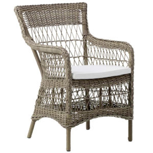 Marie Antique and White Outdoor Arm Chair with Tempotest Canvas Cushion