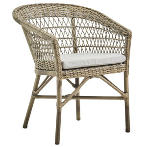 Emma Antique and White Outdoor Dining Chair with Sunbrella Sailcloth Seagull Cushion