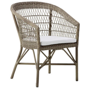 Emma Antique and White Outdoor Dining Chair with Polyester Snow Cushion