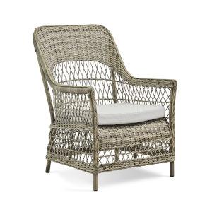 Dawn Antique and White Outdoor Lounge Chair with Sunbrella Sailcloth Seagull Cushion