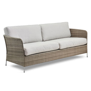 Orion Teak Gray and White Outdoor Three-Seater Sofa with Sunbrella Sailcloth Seagull Cushion