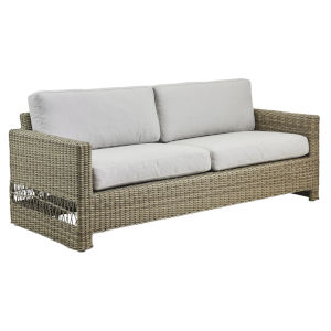 Carrie Antique and White Outdoor Three-Seater Sofa with Sunbrella Sailcloth Seagull Cushion