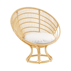 Franco Albini Natural Exterior Sunchair with Tempotest White Canvas Cushion