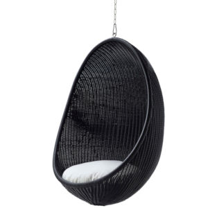 Nanna Ditzel Black Outdoor Hanging Egg Chair with Tempotest White Canvas Cushion and Chain