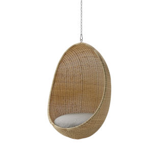 Nanna Ditzel Natural Outdoor Hanging Egg Chair with Sunbrella Sailcloth Seagull Cushion and Chain