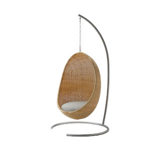 Nanna Ditzel Natural Outdoor Hanging Egg Chair with Sunbrella Sailcloth Seagull Cushion, Chain and Stand