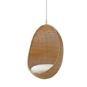 Nanna Ditzel Natural Outdoor Hanging Egg Chair with Tempotest White Canvas Cushion and Chain