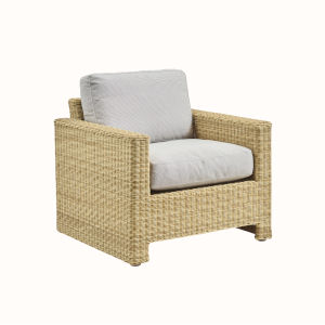Sixty Natural and White Outdoor Lounge Chair with Sunbrella Sailcloth Seagull Seat and Back Cushion