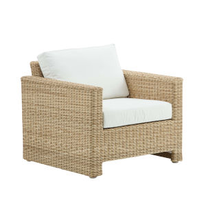 Sixty Natural and White Outdoor Lounge Chair with Tempotest Canvas Seat and Back Cushion