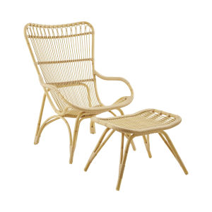 Monet Natural Exterior Highback Lounge Chair and Footstool