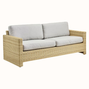 Sixty Natural and White Outdoor Three-Seater Sofa with Sunbrella Sailcloth Seagull Seat and Back Cushion