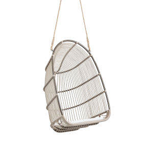 Renoir Moccachino Outdoor Hanging Swing Chair with Tempotest White Canvas Cushion