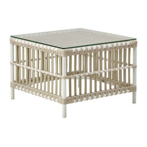 Caroline Dove White Outdoor Side Table with Glass Top