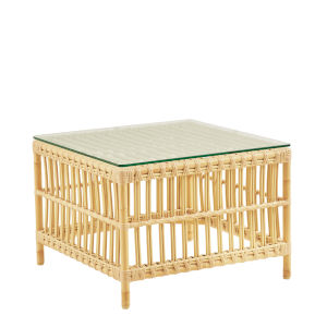 Caroline Natural Exterior Side Table with Glass Top