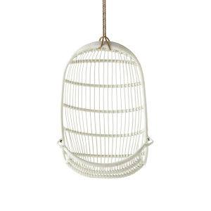 American White Outdoor Hanging Rattan Chair